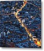 Aerial Night View Of Paris Metal Print
