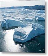 Aerial Of Icebergs Of Ilulissat Metal Print