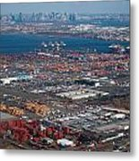 Aerial Over Newark And New Yourk Metal Print