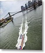 Aerial View - Red Tourist's Boat At East River Metal Print