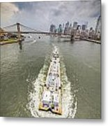 Aerial View - The Barge At The East River Metal Print