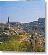 Aerial View Of A City, Toledo, Spain Metal Print