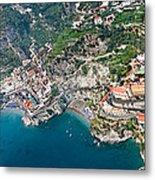 Aerial View Of A Town, Atrani, Amalfi Metal Print