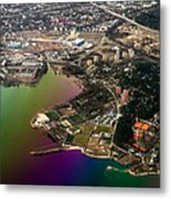Aerial View Of Bay. Rainbow Earth Metal Print by Jenny Rainbow