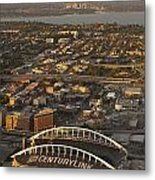 Aerial View Of Bellevue Skyline And Century Link  Metal Print
