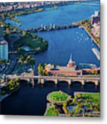 Aerial View Of Bridges Crossing Charles Metal Print