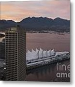 Aerial View Of Canada Place At Sunse Metal Print