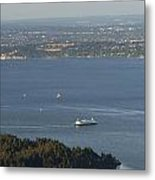 Aerial View Of Ferry Boats On Puget Sound Leaving Bainbridge Isl Metal Print