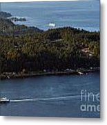 Aerial View Of Ferry Boats On Puget Sound One Leaving Bainbridge Metal Print