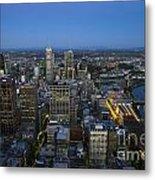 Aerial View Of Melbourne At Night Metal Print