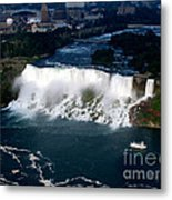 Aerial View Of Niagara Falls And River And Maid Of The Mist Metal Print