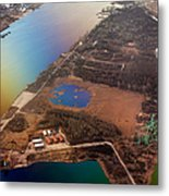 Aerial View Of Riga. Latvia. Rainbow Earth Metal Print