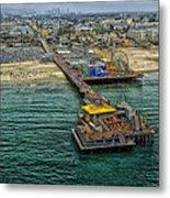 Aerial View Of Santa Monica Pier Metal Print