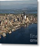 Aerial View Of Seattle Skyline With Elliott Bay And Ferry Boat Metal Print