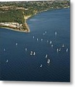 Aerial View Of Seattle Skyline With Sailboat Race On Puget Sound Metal Print