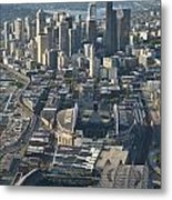 Aerial View Of Seattle Skyline With The Pro Sports Stadiums Metal Print