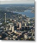 Aerial View Of Space Needle And Lake Union Metal Print