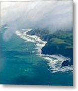 Aerial View Of Tasman Sea Shore Nz North Island Metal Print