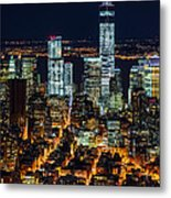Aerial View Of The Lower Manhattan Skyscrapers By Night Metal Print