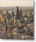 Aerial View Of The Seattle Skyline With Stadiums Metal Print