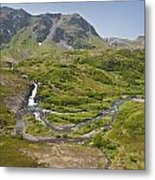 Aerial View Of Waterfall And River In Metal Print