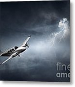 Risk - Aeroplane In Thunderstorm Metal Print