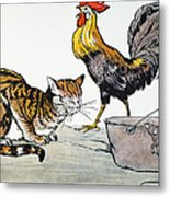 Aesop: Cat, Cock, And Mouse Metal Print