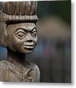 African Aging Wooden Sculpture Metal Print