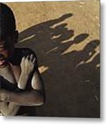 African Boy, Bare-chested, Arms Crossed Metal Print