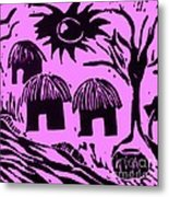 African Huts Pink Metal Print