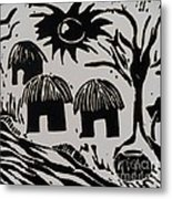 African Huts White Metal Print