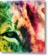 African Lion Eyes 2 Metal Print