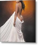 African Nude And White Cloth 1036.02 Metal Print