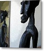 African Statue Reflection Metal Print