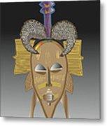African Tribal Ceremonial Mask Metal Print