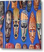African Tribal Masks In Sidi Bou Said Metal Print
