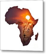 African Wildlife Map Metal Print