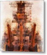 Aft Turret 3 Sun Down Uss Iowa Battleship Photo Art 01 Metal Print
