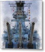 Aft Turret 3 Uss Iowa Battleship Photoart 01 Metal Print