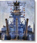 Aft Turret 3 Uss Iowa Battleship Photoart 02 Metal Print