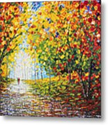 After Rain Autumn Reflections Acrylic Palette Knife Painting Metal Print