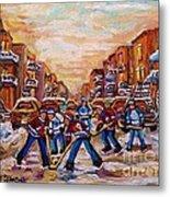 After School Winter Fun Street Hockey Paintings Of Montreal City Scenes Carole Spandau Metal Print