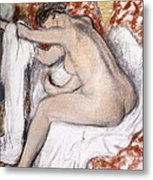 After The Bath Woman Drying Herself Metal Print