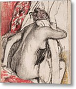 After The Bath.seated Woman Drying Herself Metal Print