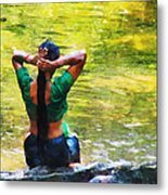 After The River Bathing. Indian Woman. Impressionism Metal Print by Jenny Rainbow