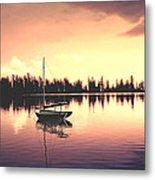 Afterglow  Sunset On Lake Sailboat Panoramic Picture Metal Print