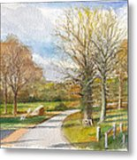 Afternoon In The Auvergne Countryside In Central France Metal Print
