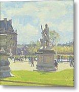Afternoon In The Tuileries, Paris Oil On Canvas Metal Print