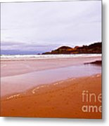 Agate Beach Oregon With Yaquina Head Lighthouse Metal Print by Artist and Photographer Laura Wrede