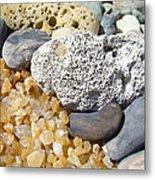 Agate Rock Garden Design Art Prints Coral Petrified Wood Metal Print by Baslee Troutman